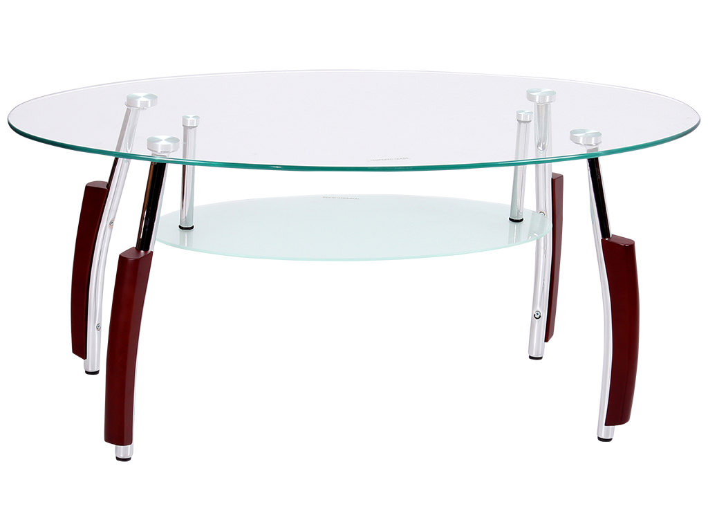 Mahogany Chrome Metal Finish Clear Glass Oval Coffee Table With Shelf