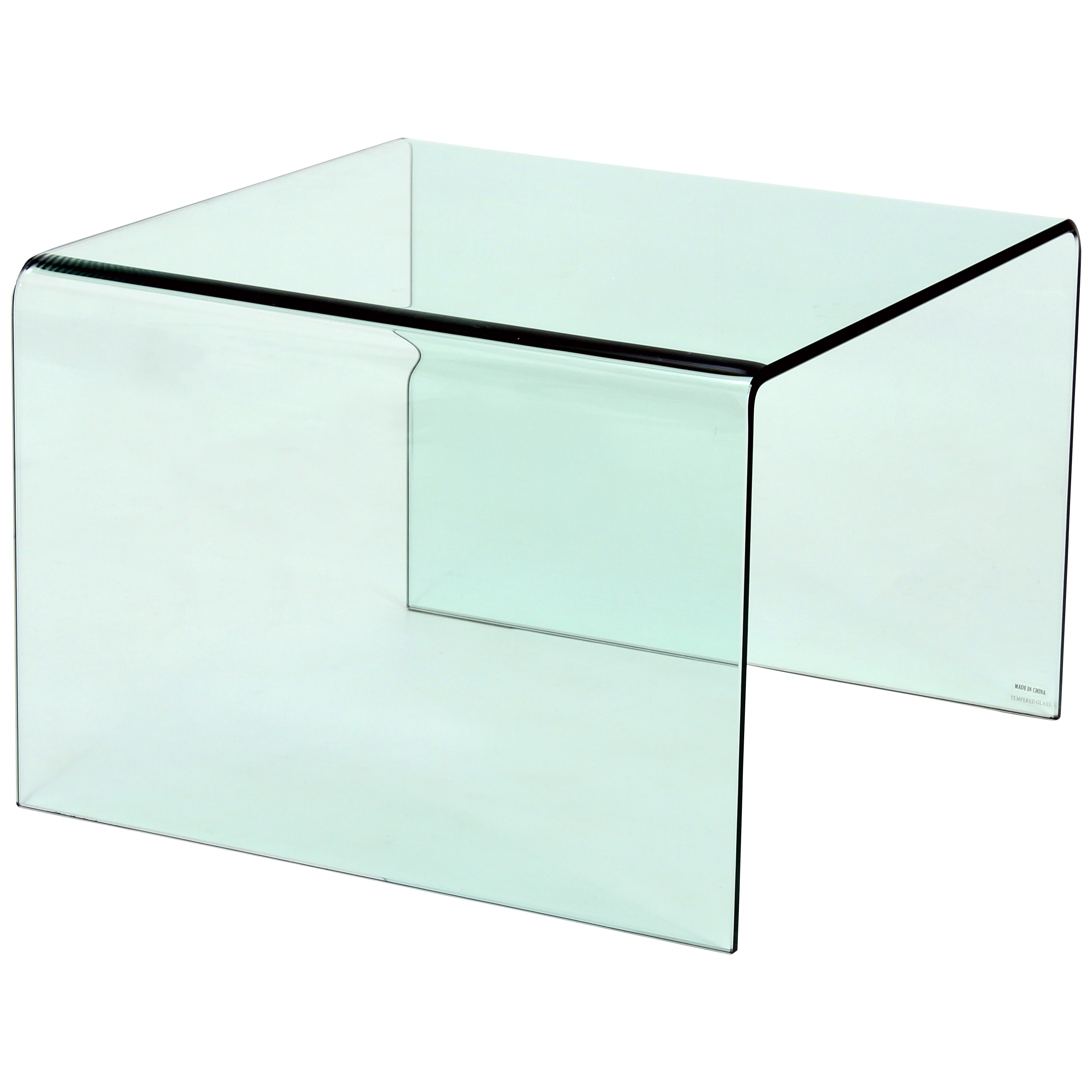 Tempered Bent Glass End Lamp Small Side Coffee Table