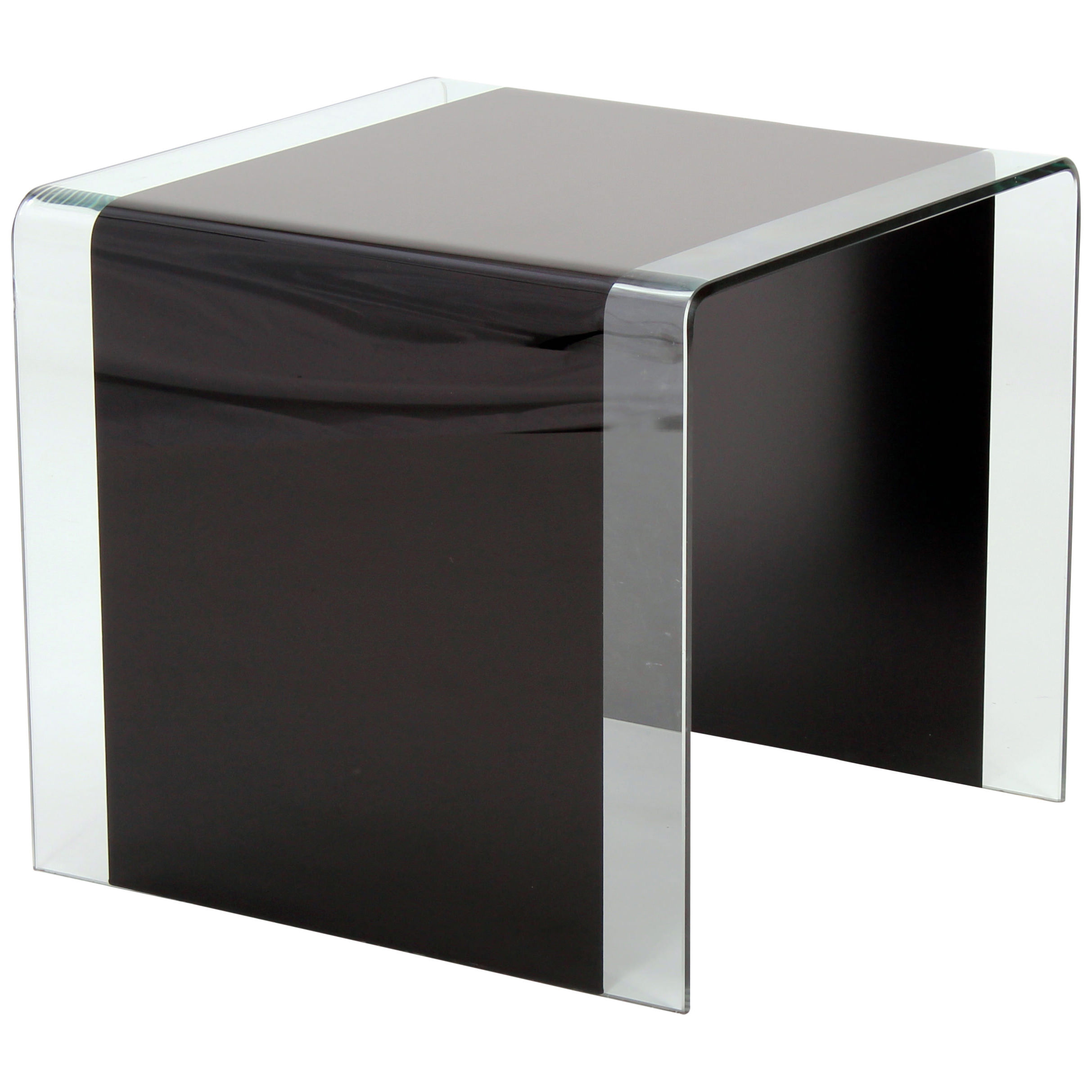 Tempered Bent Glass End Lamp Small Side Coffee Table Clear Black Ebay