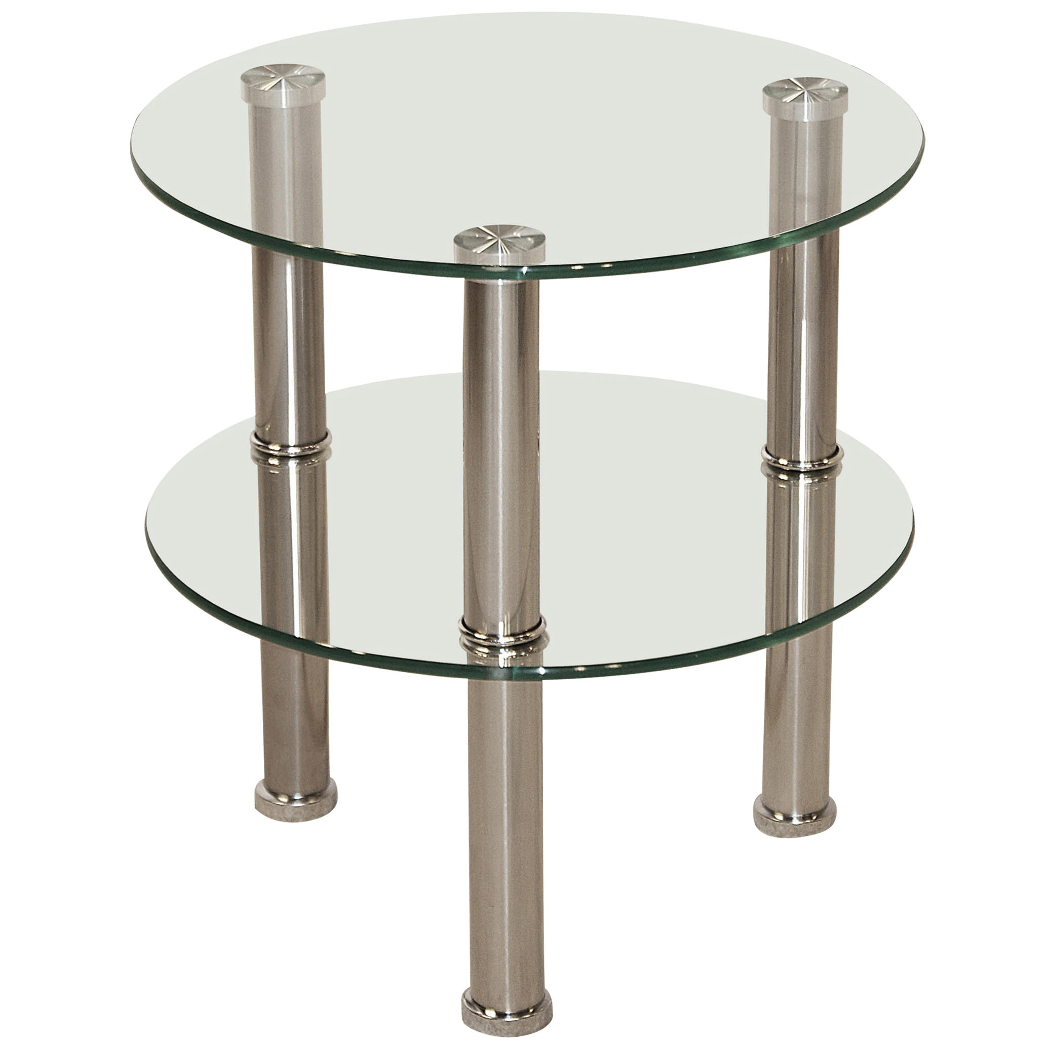 Chrome Glass Round End Lamp Small Side Coffee Table Black Clear Ebay
