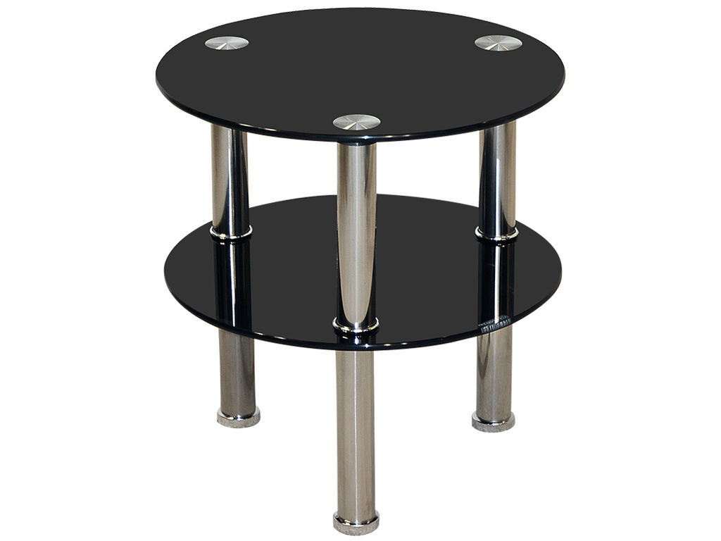 Chrome Glass Round End Lamp Small Side Coffee Table Black Clear