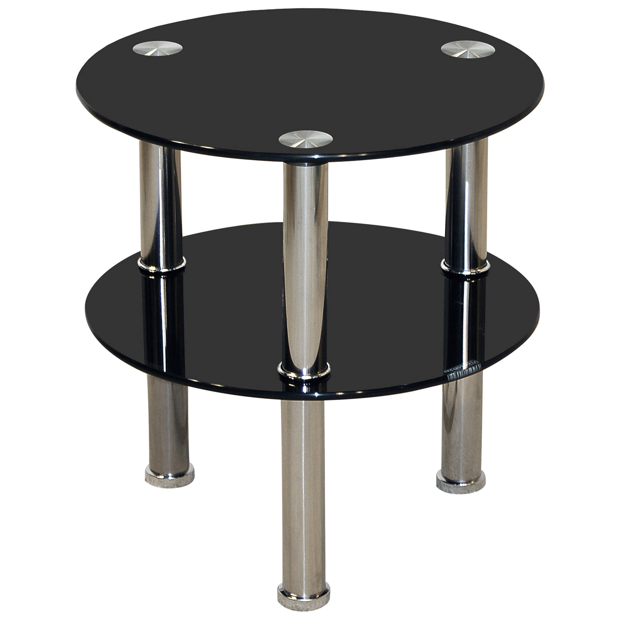 Chrome Amp Glass Round End Lamp Small Side Coffee Table