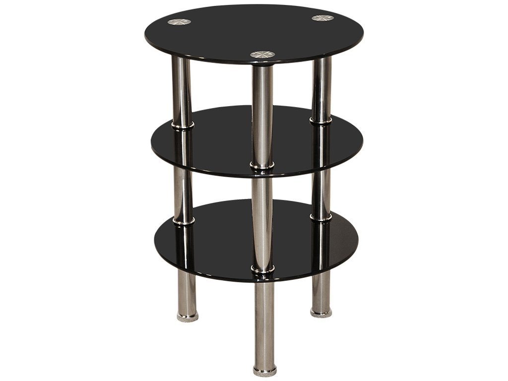 chrome black glass round end lamp small side coffee table ebay. Black Bedroom Furniture Sets. Home Design Ideas