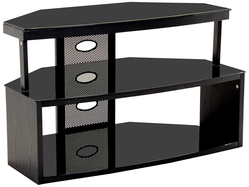 black finish wood glass flat screen plasma corner tv. Black Bedroom Furniture Sets. Home Design Ideas