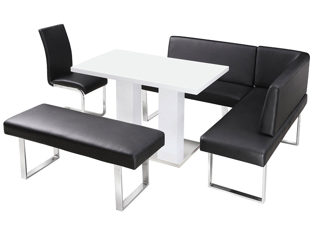 High gloss dining table and chair set with corner bench for Dining set with bench and chairs