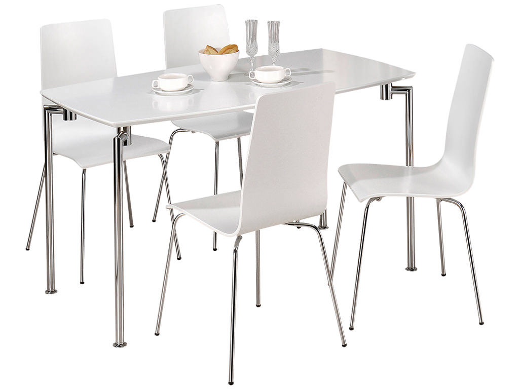 High Gloss Finish Dining Table And Chair Set With 4 Seats