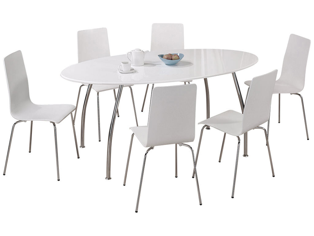 High gloss finish oval dining table and chair set with 6 for Black and white dining set
