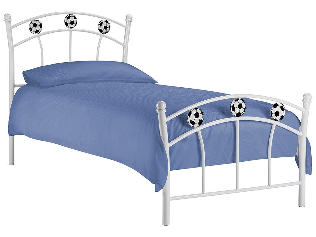 White finish childrens kids boys soccer bed frame bedstead for Kids white bed frame