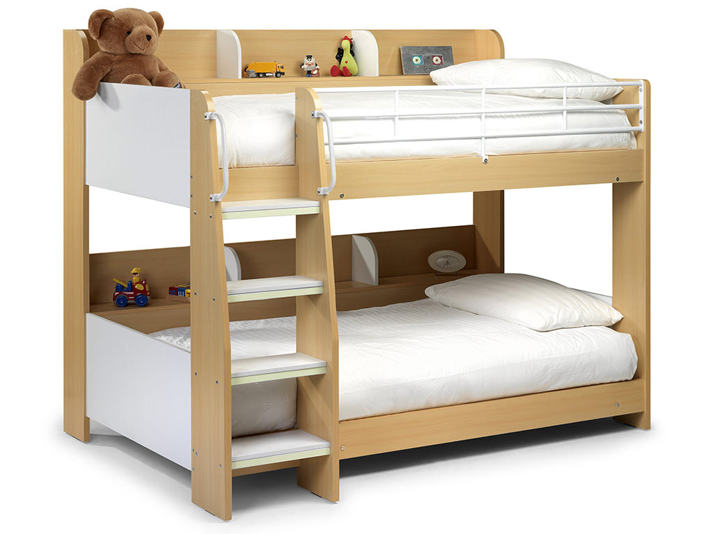 maple finish white childrens kids bunk bed frame. Black Bedroom Furniture Sets. Home Design Ideas