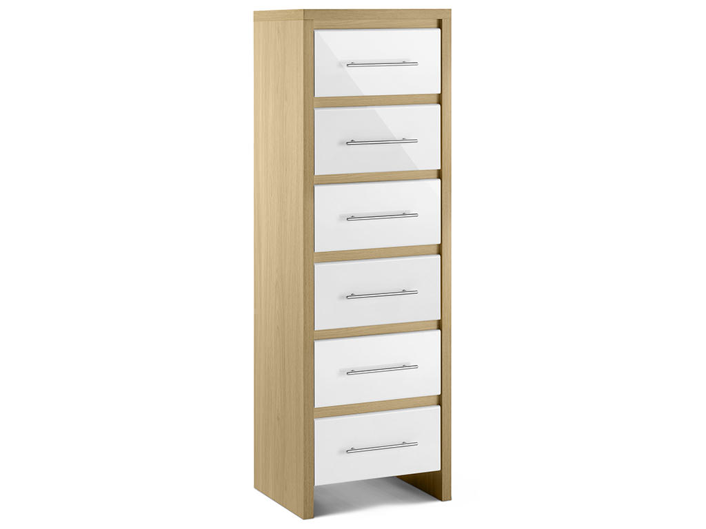 Oak High Gloss White Bedroom Tall Narrow Chest Of 6