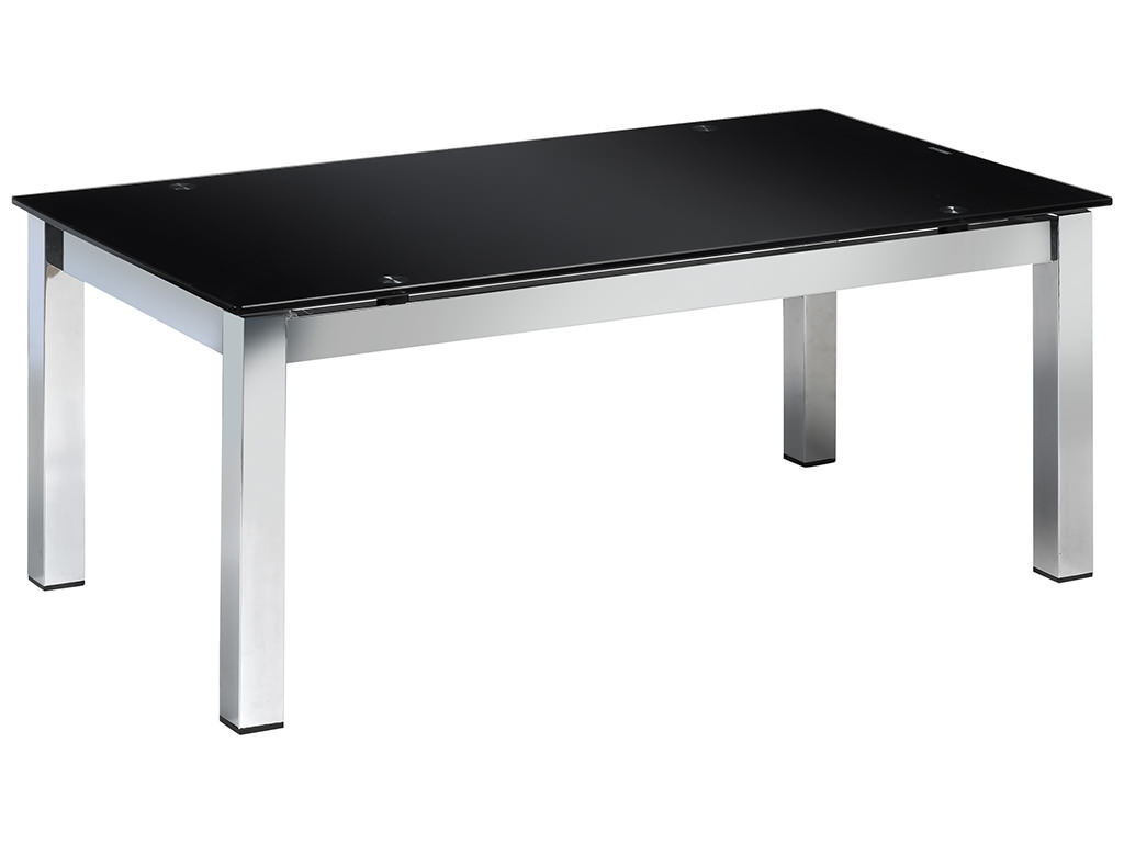 Chrome black glass metal rectangle coffee table ebay Black and chrome coffee table