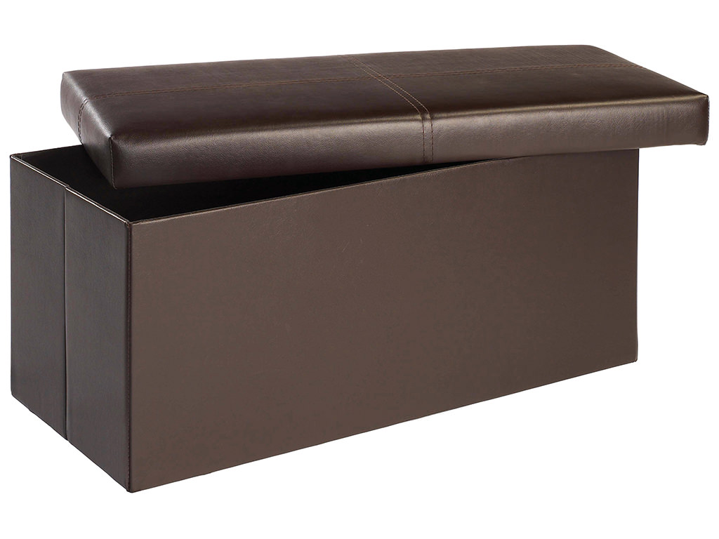 Brown faux leather ottoman storage stool blanket toy box for Small ottoman storage
