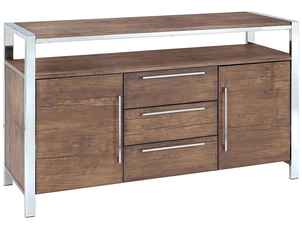 Wood Grain Storage : Wood grain chrome finish sideboard cabinet storage