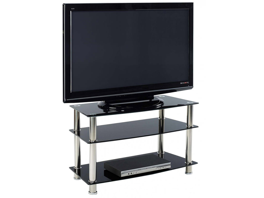 Table With Tv : Chrome glass flat screen plasma lcd tv table stand unit