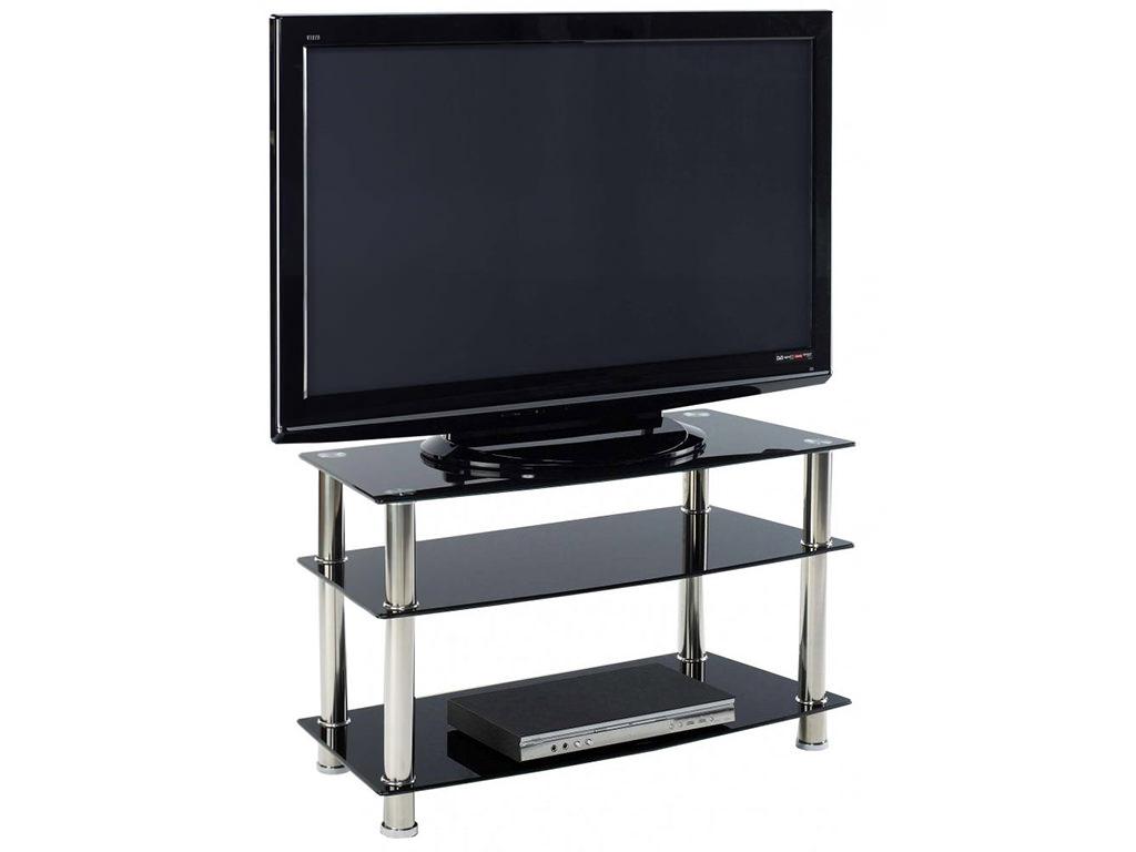 chrome glass flat screen plasma lcd tv table stand unit black clear ebay. Black Bedroom Furniture Sets. Home Design Ideas