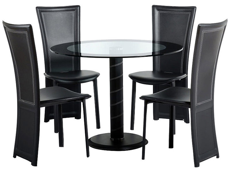 Modern Glass Round Dining Table And Chair Set With 4 Black Faux Leather Seats
