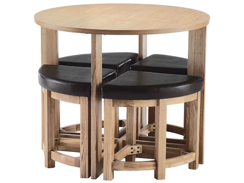 Oak Finish Ash Veneer Round Dining Table And Chair Set With 4 Leather S