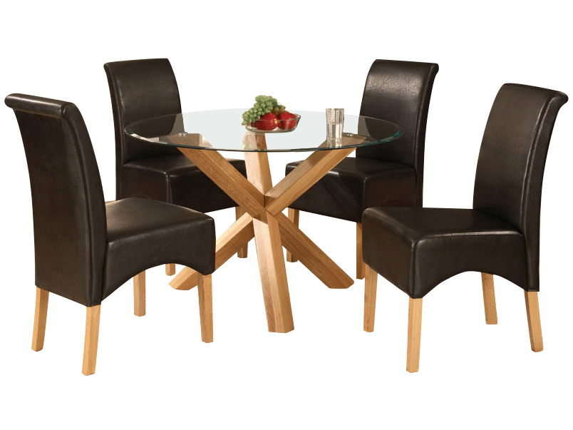 Solid Oak Glass Round Dining Table And 4 Leather Chair Set Brown Red