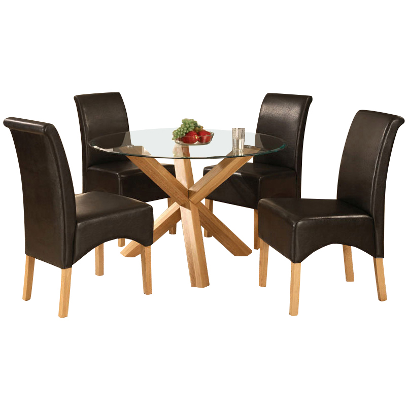 Solid oak glass round dining table and 4 leather chair for Four chair dining table set