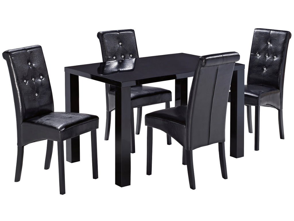 High Gloss Black White Dining Table And Chair Set With 4 6 Faux Leather Sea