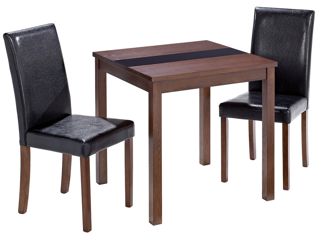 walnut finish square dining table and chair set with 2