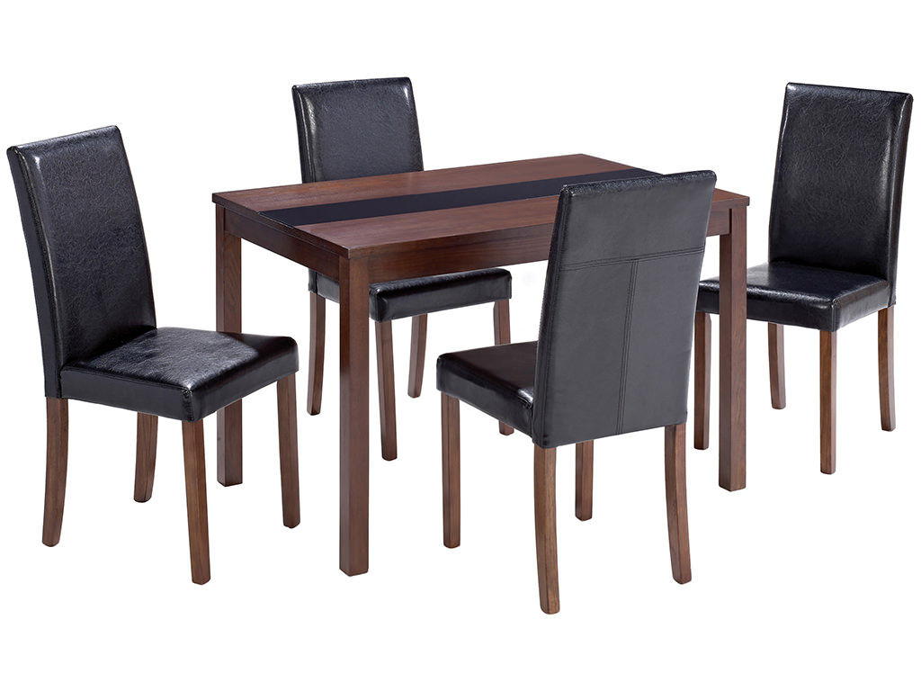walnut finish dining table and chair set with 4 black leather seats