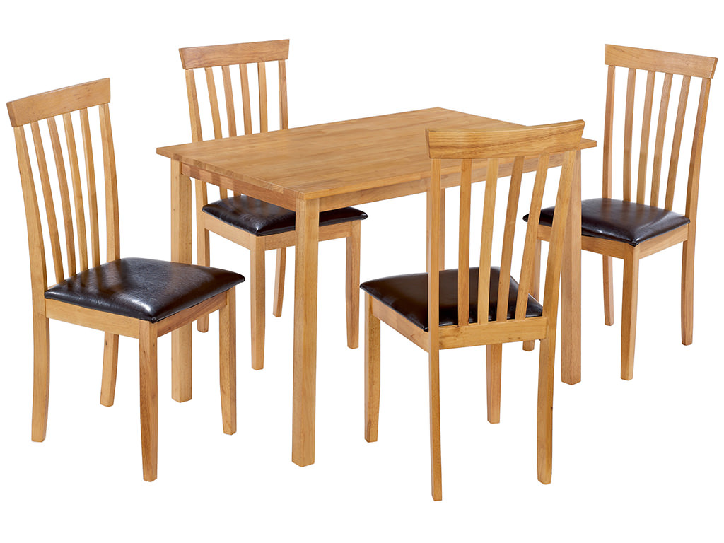 Oak Finish Dining Table And Chair Set With 4 Leather Seats EBay