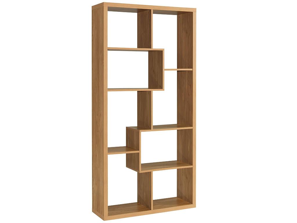 Oak Finish Wood Shelving Bookcase Book Shelf Storage Unit