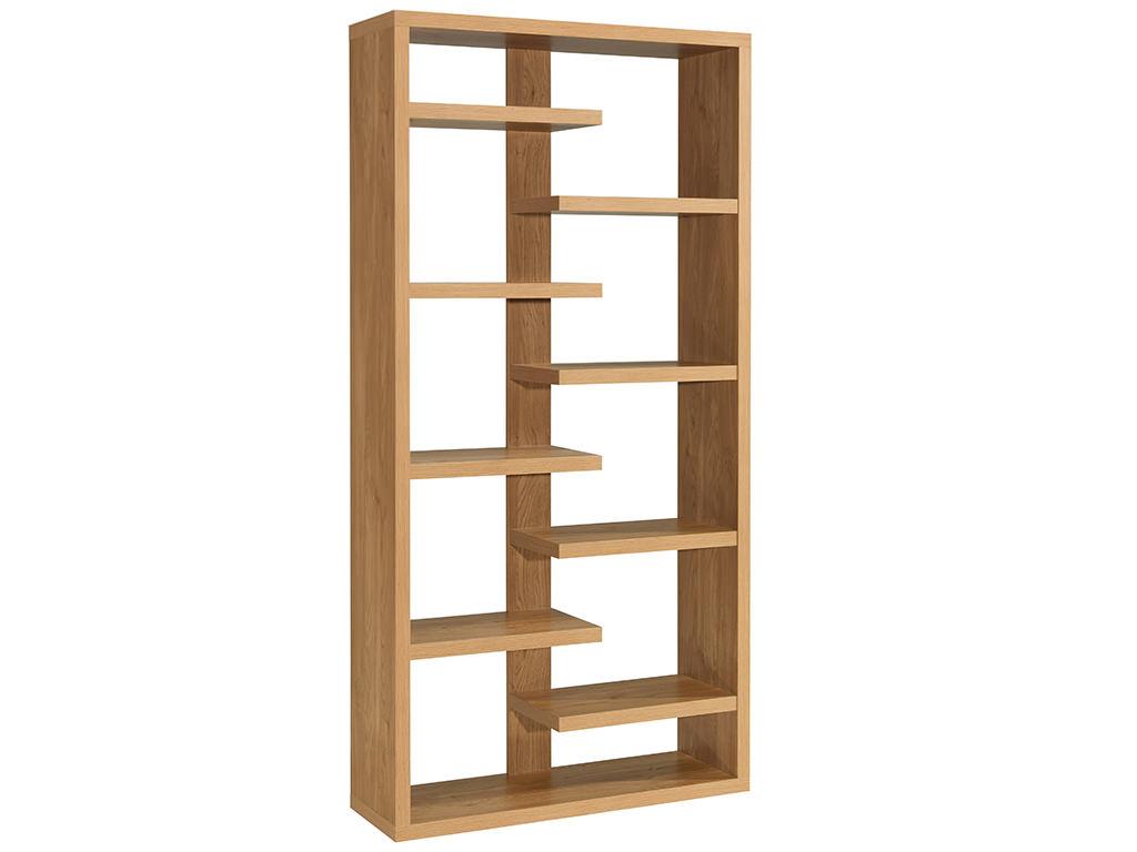 oak finish storage shelf room divider shelves display. Black Bedroom Furniture Sets. Home Design Ideas