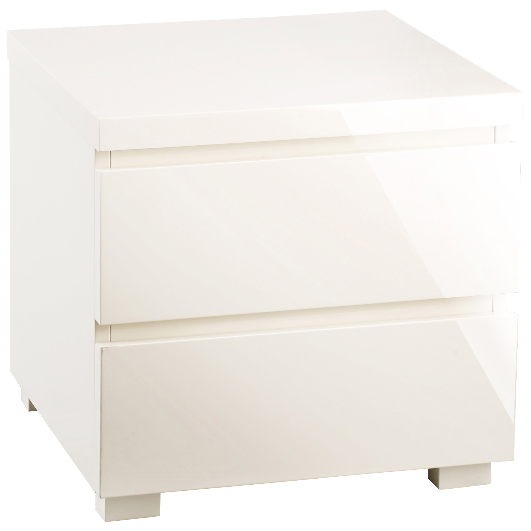 High Gloss Bedside Cabinet Bedroom End Lamp Table 2 Drawer