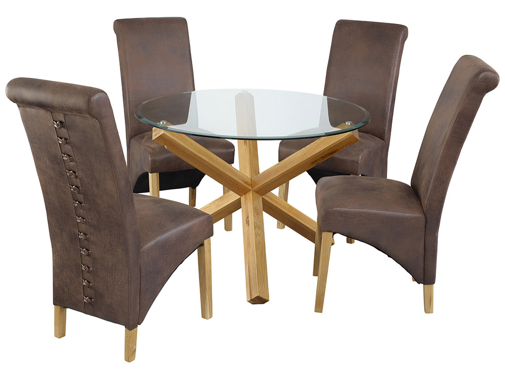 oak glass round dining table and chair set with 4 leather seats black brown ebay. Black Bedroom Furniture Sets. Home Design Ideas