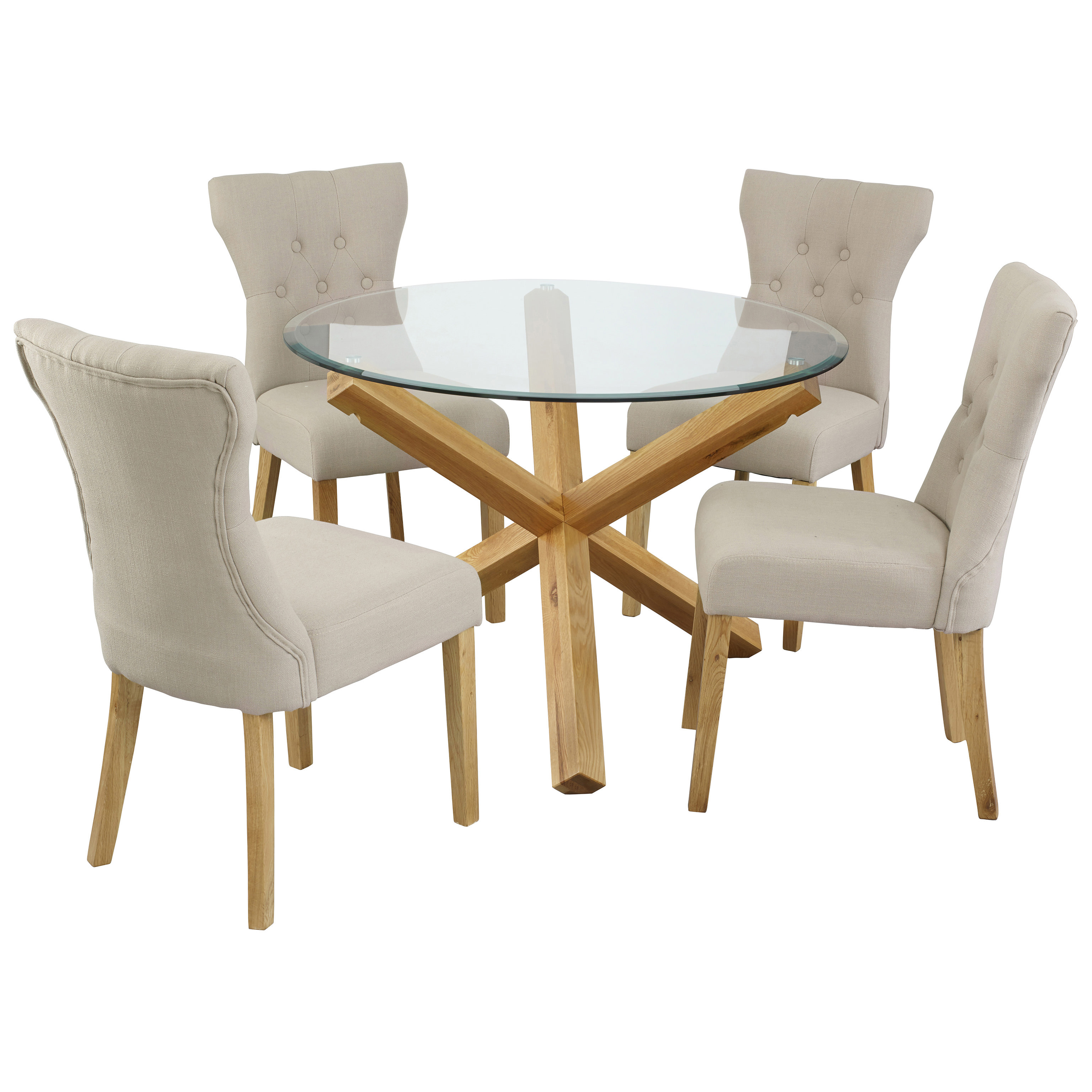 Oak amp Glass Round Dining Table and Chair Set with 4 Fabric  : l655oportodiningset4napleschairsgrey1 from www.ebay.co.uk size 3072 x 3072 jpeg 1043kB