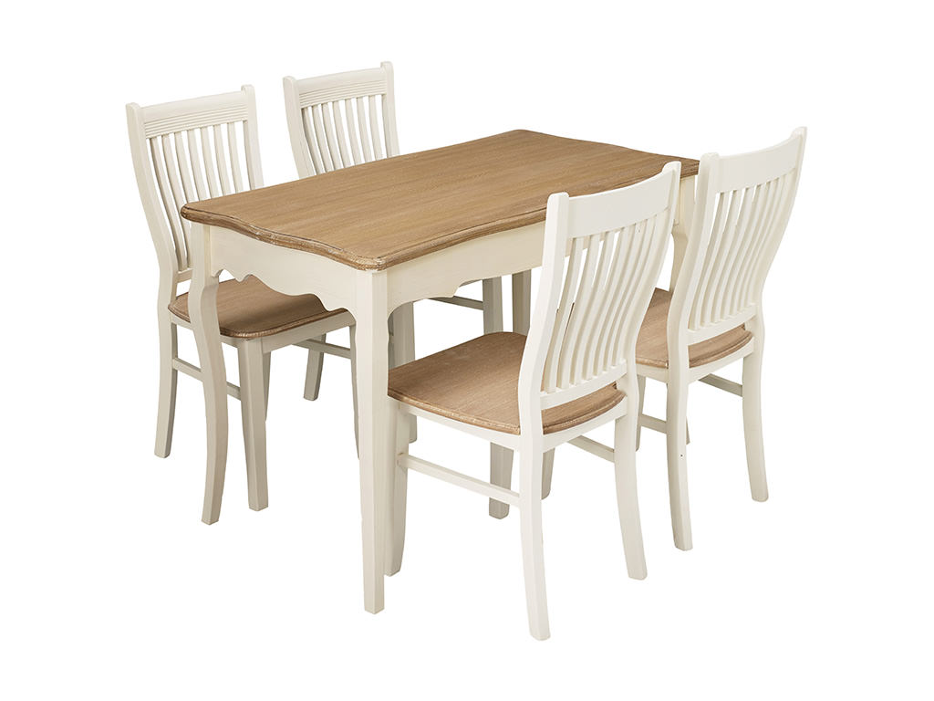 Cream wood finish dining table and chair set with 4 for 4 seater dining table and chairs