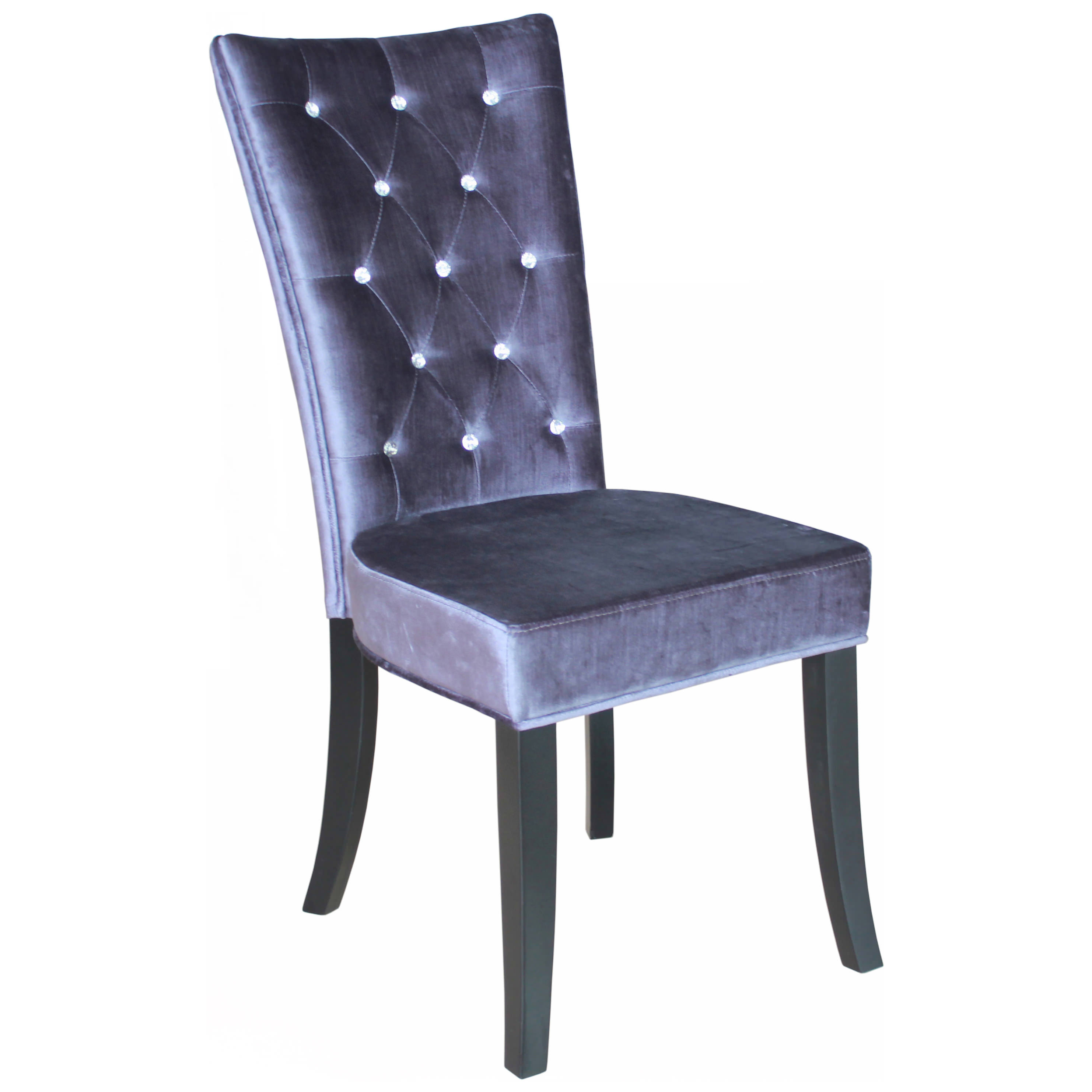 Pack Of 2 Velvet Style Fabric Dining Seat Chair Black Silver Purple
