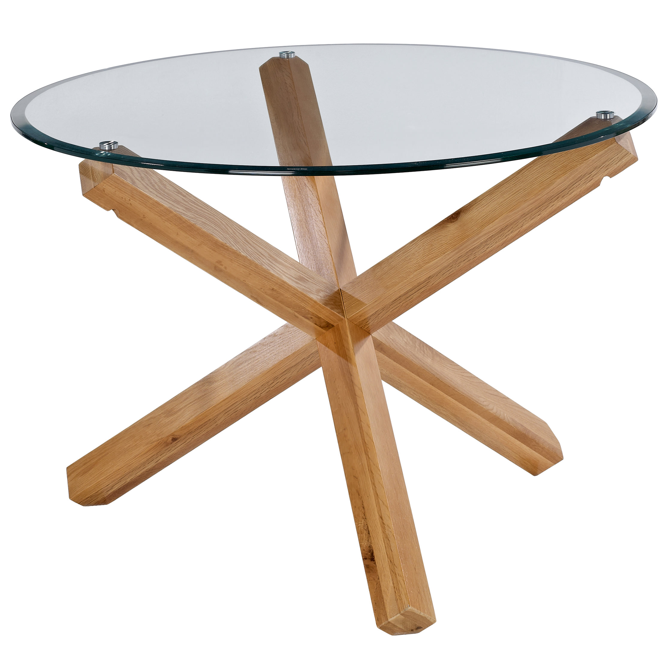 Solid oak glass round dining table and chair set with 4 for Round dining table set for 4