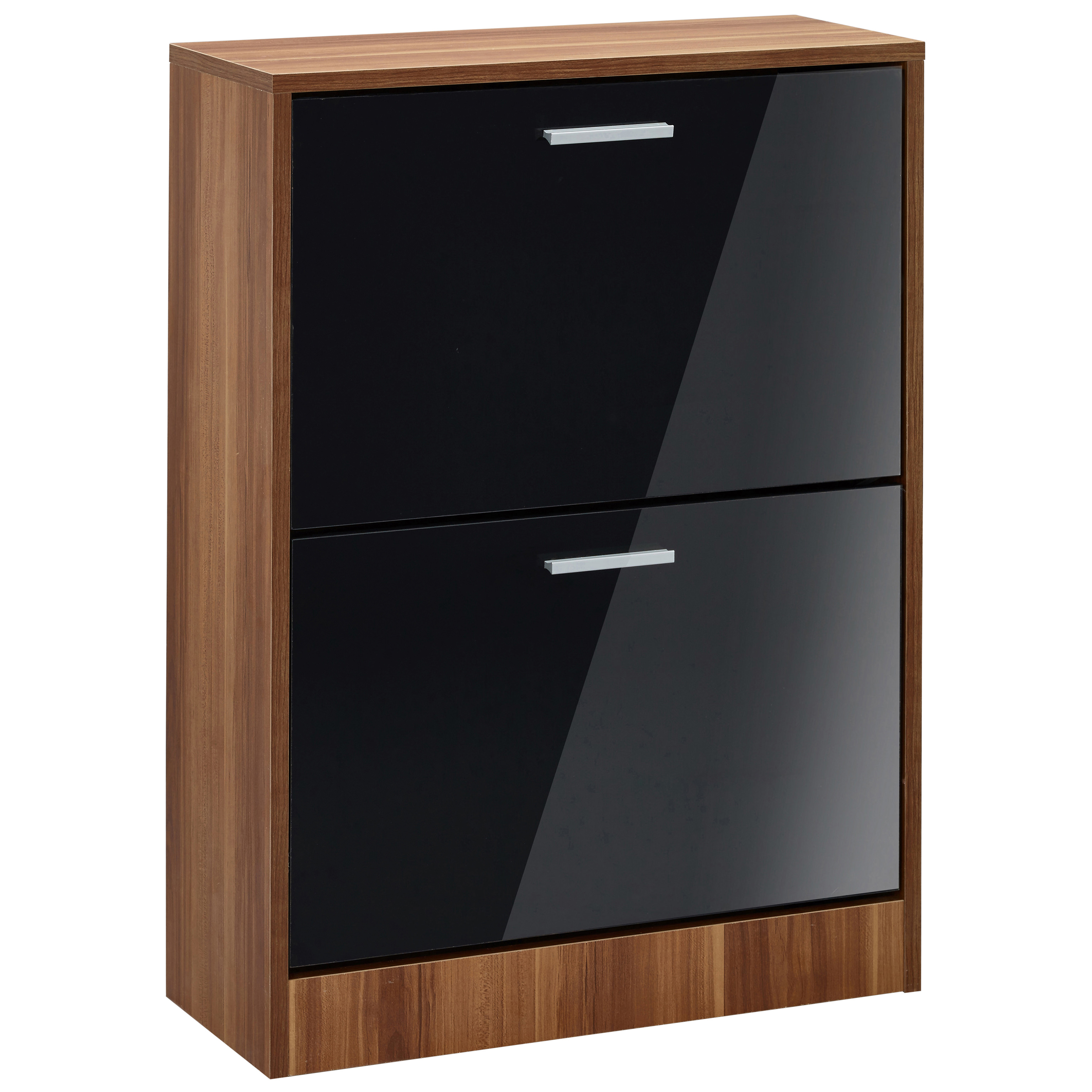 High gloss walnut finish shoe storage cupboard cabinet unit black white ebay - Bathroom cabinets black gloss ...