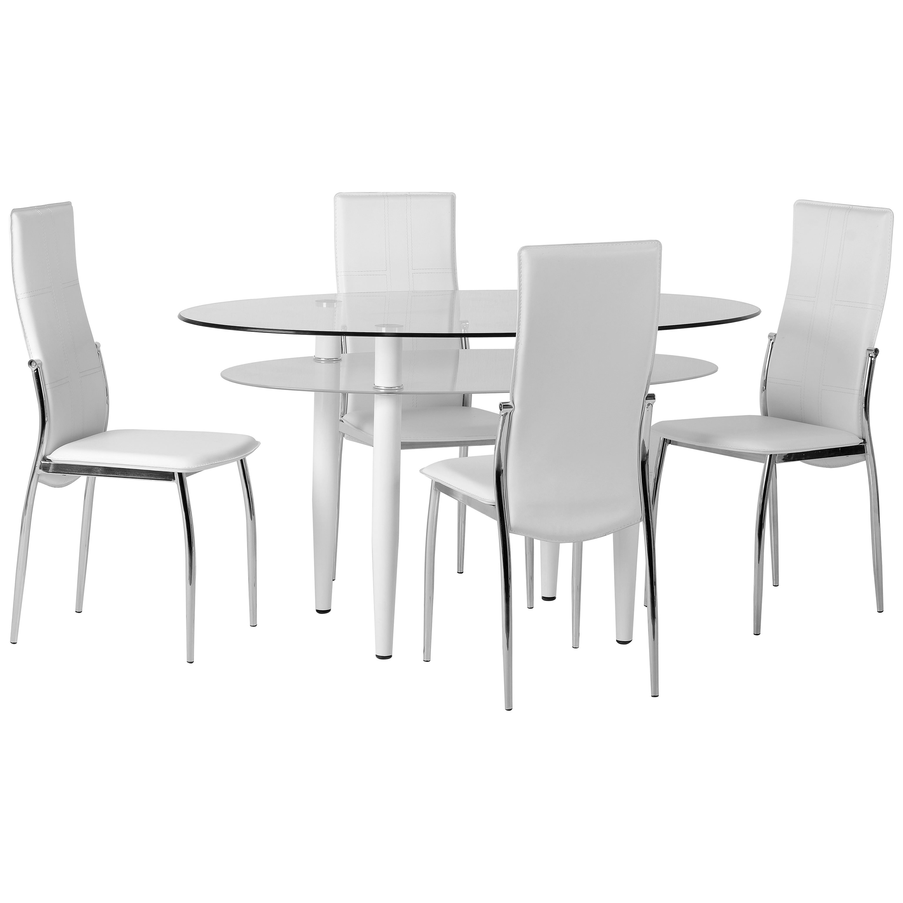 Clear Glass Oval Dining Table and Chair Set with 4 Leather