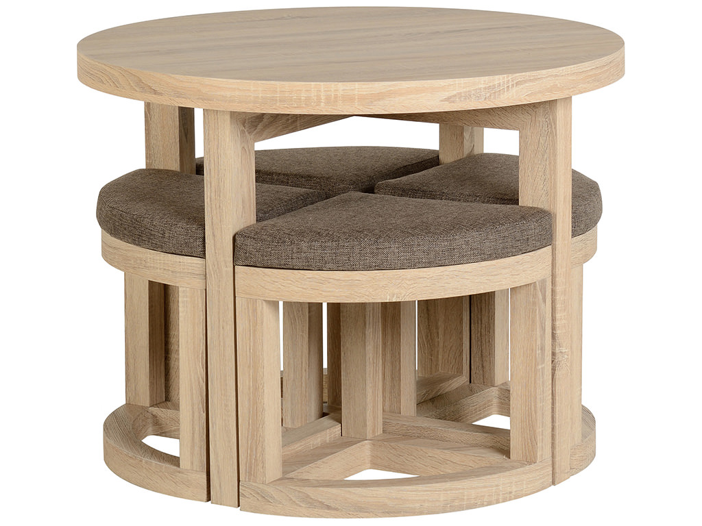 Sonoma Oak Veneer Round Stowaway Dining Table And Chair Set With 4 Brown Seat