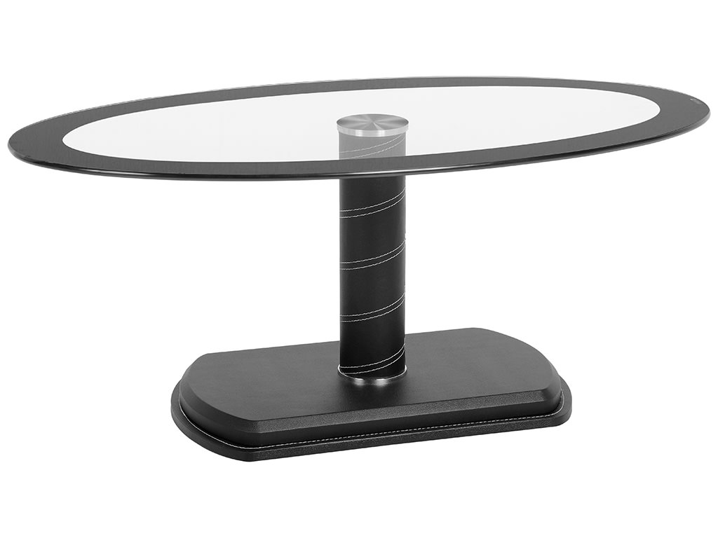 Black Clear Glass Oval Coffee Table Ebay