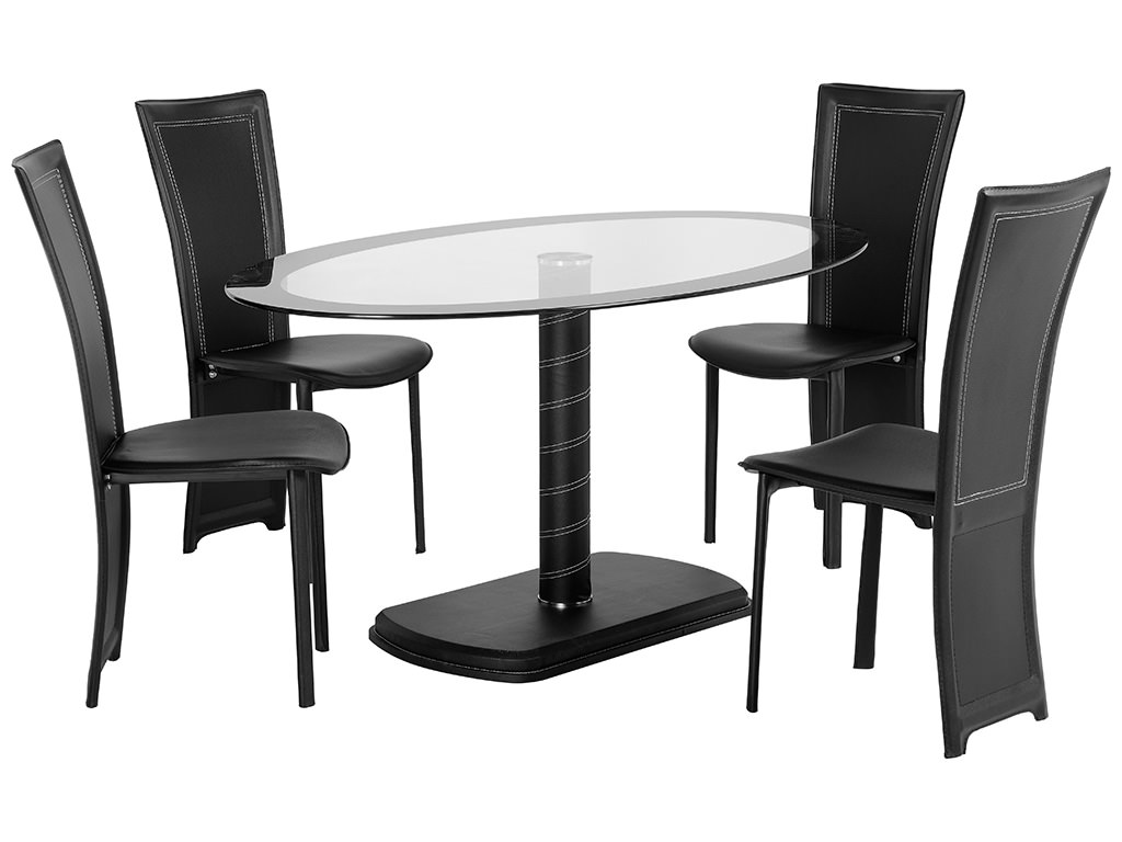 Black Glass Oval Dining Table Cameo