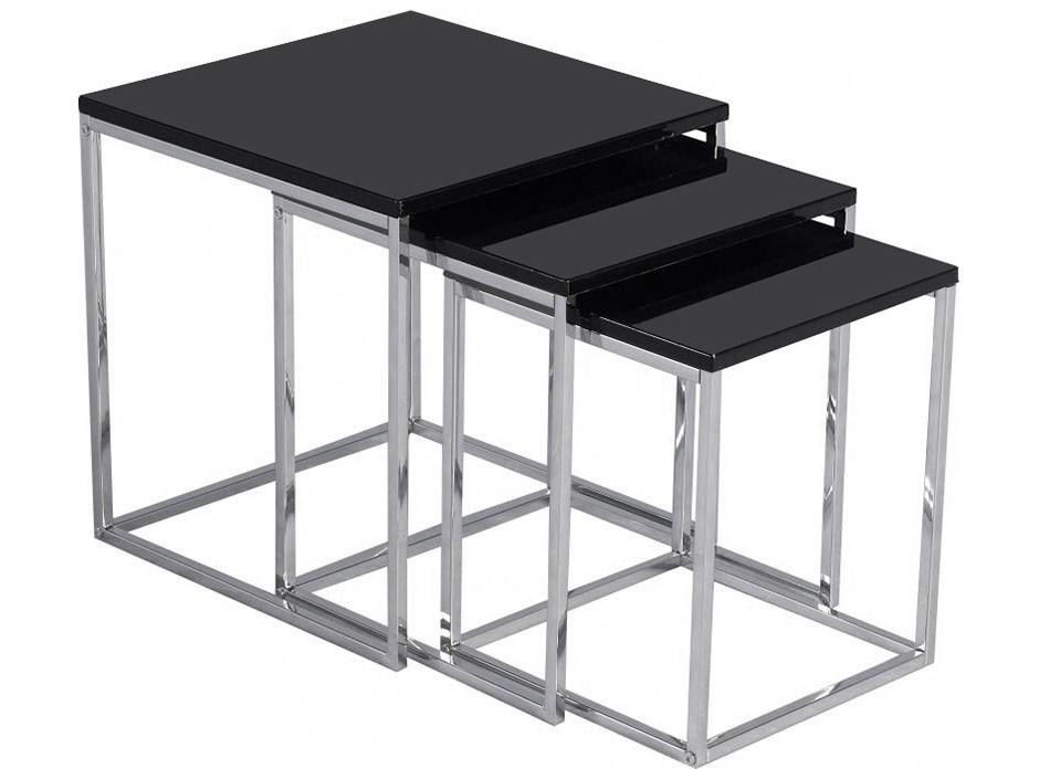 Black Amp Chrome Table ~ High gloss chrome nest of piece coffee end lamp side