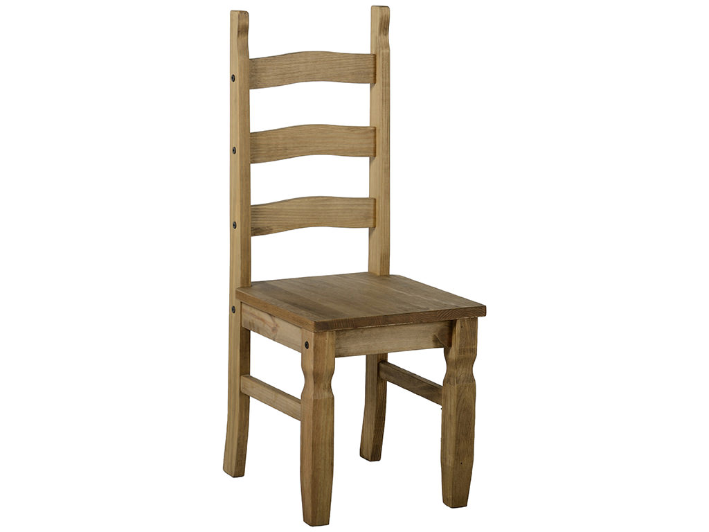 Pack Of 2 Distressed Waxed Pine Finish Dining Seat Chair
