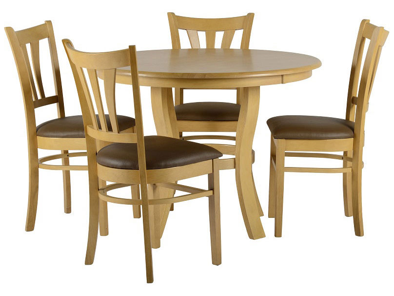 Natural oak veneer round dining table and chair set with 4 brown leather seats ebay - Oak veneer dining table ...