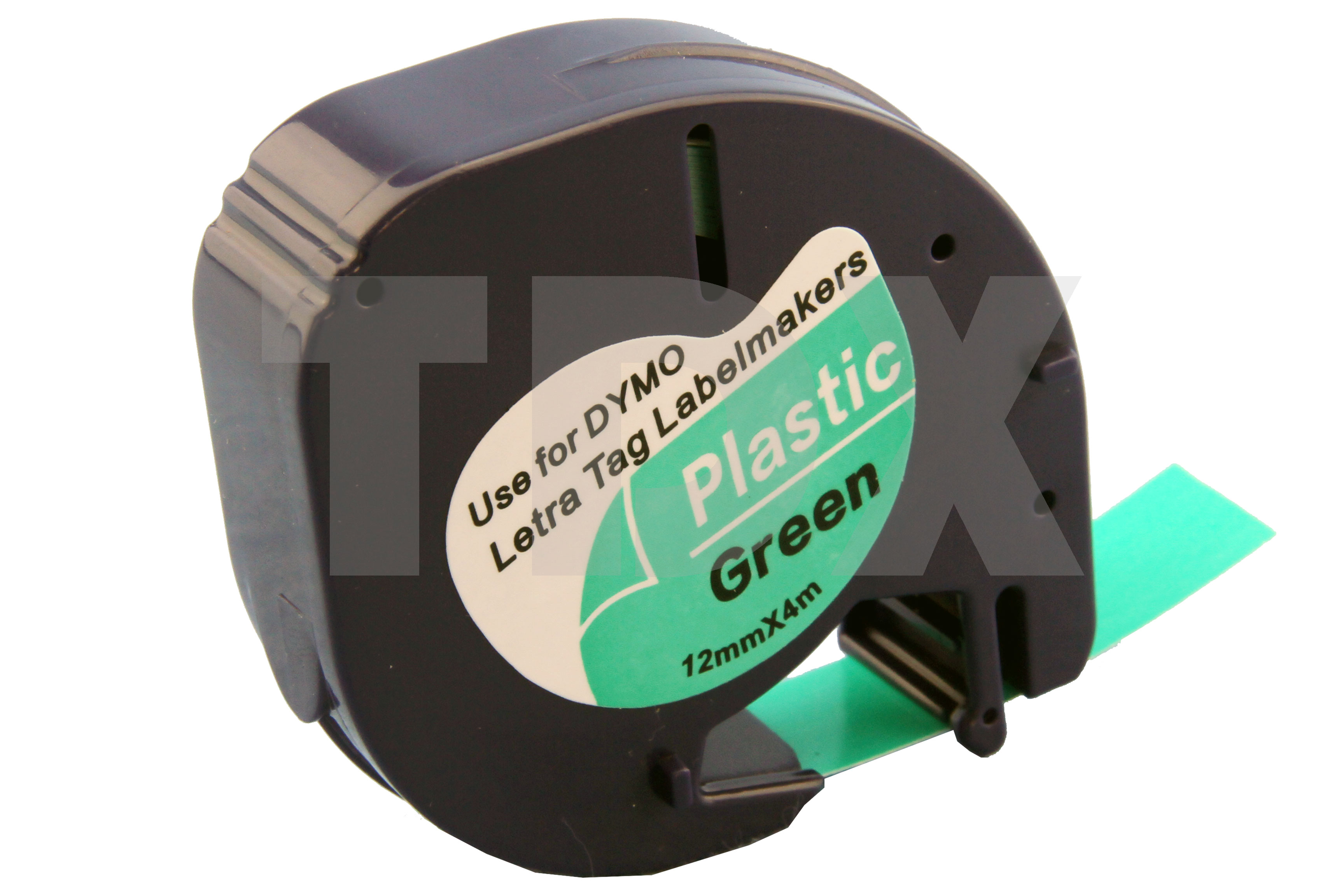50x compatible letratag tape for dymo 91204 black on green. Black Bedroom Furniture Sets. Home Design Ideas
