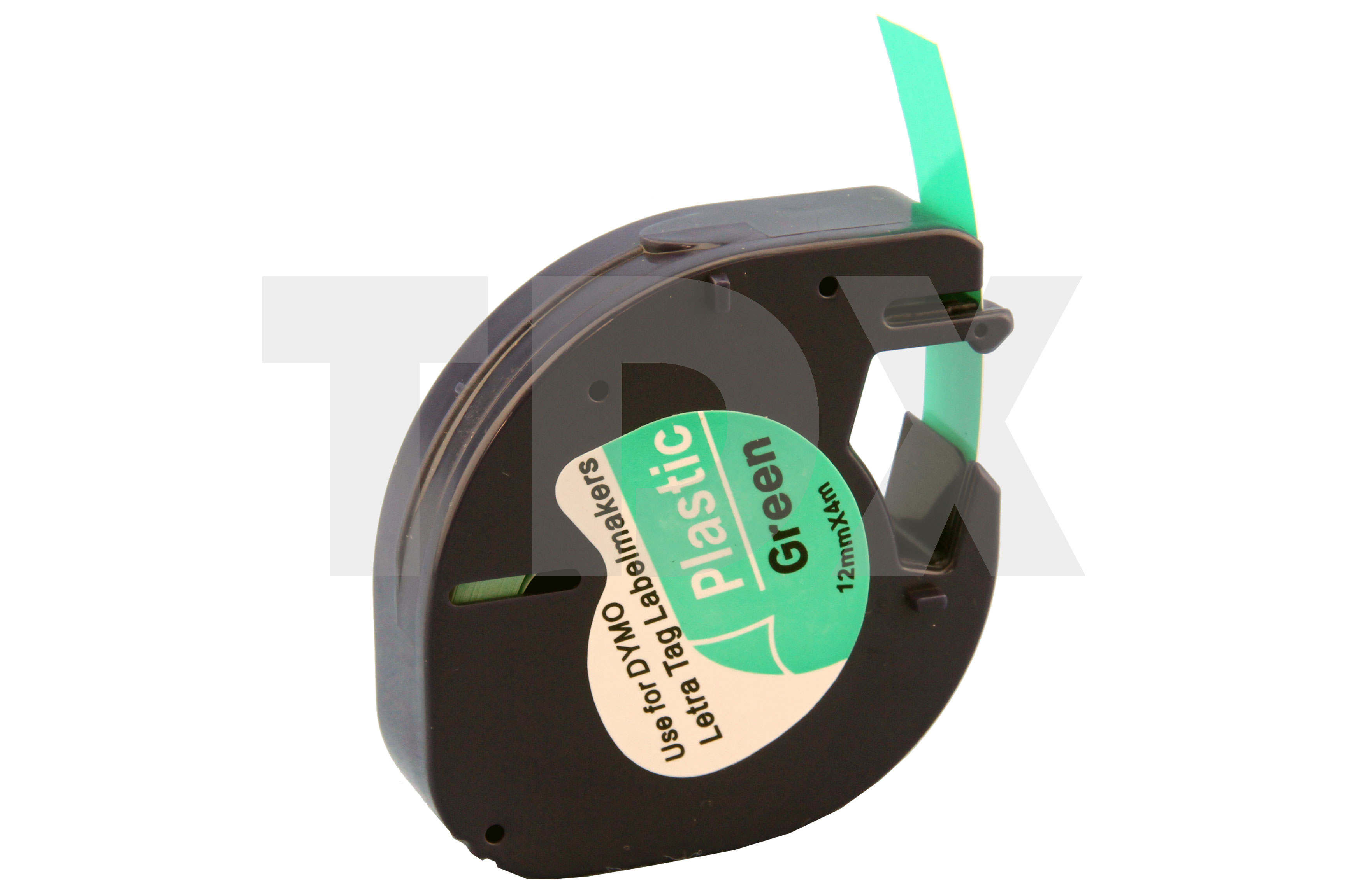 4x compatible letratag tape for dymo 91204 black on green. Black Bedroom Furniture Sets. Home Design Ideas