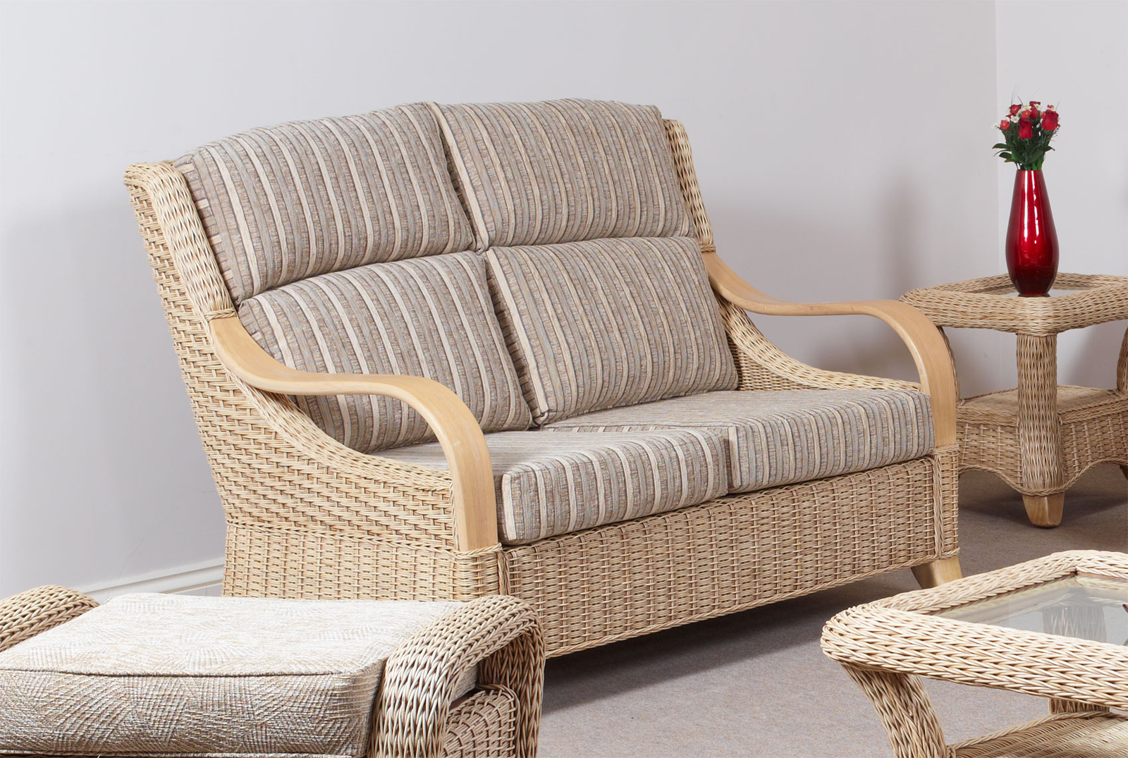Cane And Rattan Conservatory Furniture Hilton Conservatory Cane Furniture Wicker Two Seater Sofa Settee