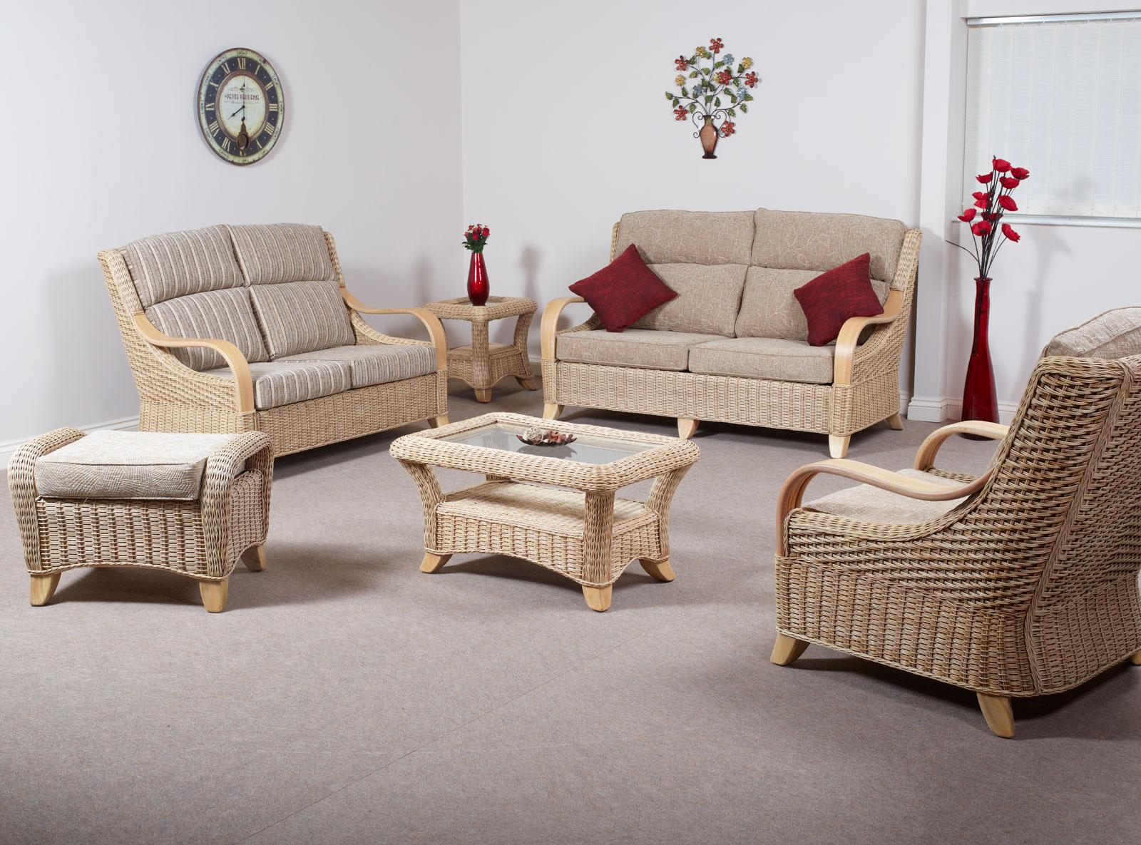 Hilton Cane Rattan Conservatory Suite Incl Large Sofa