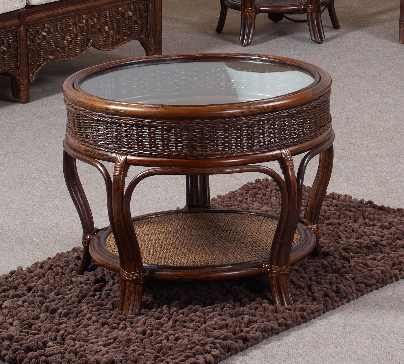 Sepang Conservatory Cane Furniture Round Glass Coffee Table Ebay