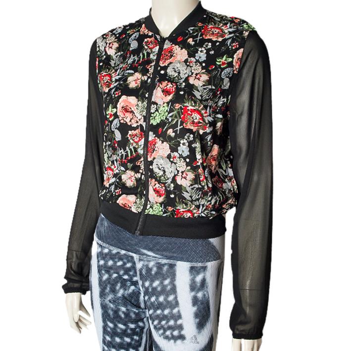 adidas neo selena gomez women jacket flower size uk xs s. Black Bedroom Furniture Sets. Home Design Ideas