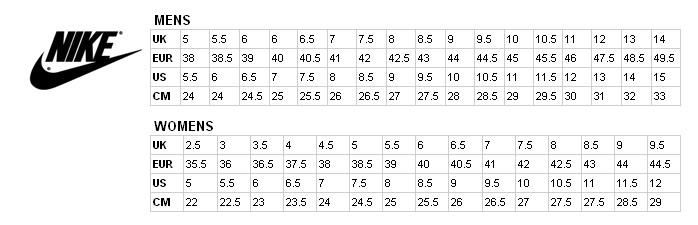 Nike Shoe Conversion Chart Lcm Ua Org